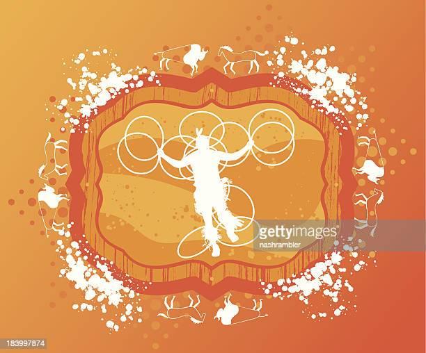 native hoop dancer on grunge background - plastic hoop stock illustrations