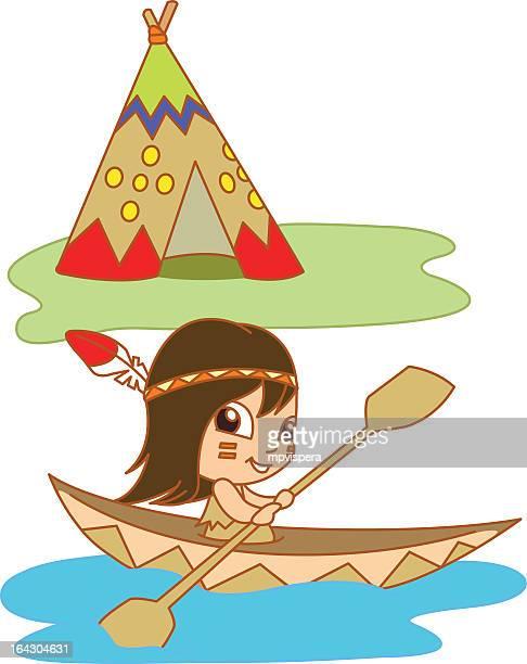 ilustrações, clipart, desenhos animados e ícones de nativo do lago - índia