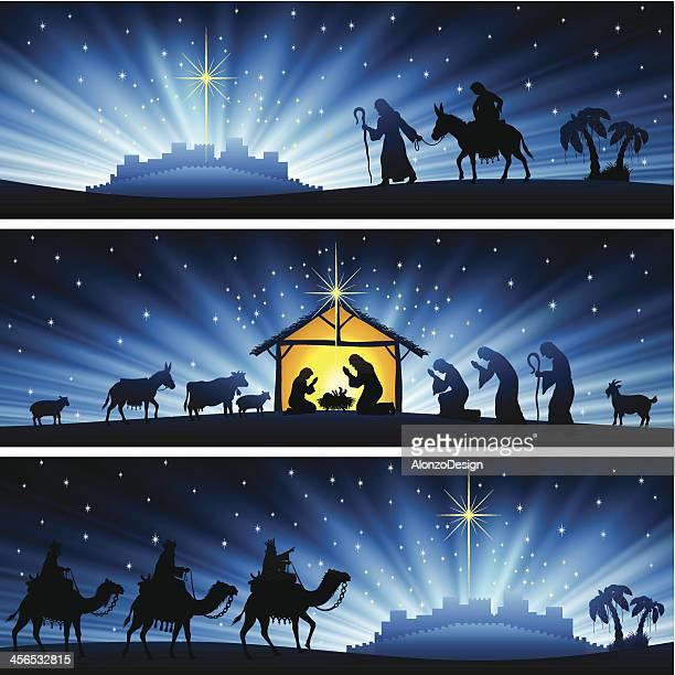 ilustraciones, imágenes clip art, dibujos animados e iconos de stock de nativity banners - lostresreyesmagos