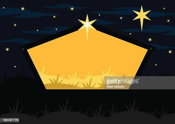 Nativity Barn Scene by Night