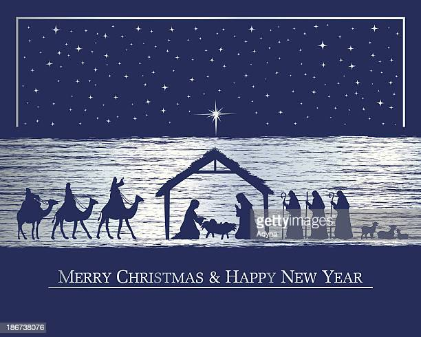 nativity card - nativity scene stock illustrations