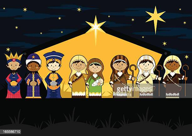 nativity characters in barn - north star stock illustrations