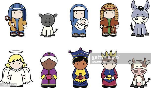 ilustraciones, imágenes clip art, dibujos animados e iconos de stock de nativity iconos de navidad - los tres reyes magos