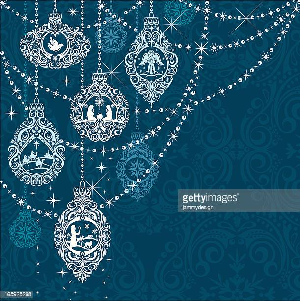 nativity christmas ornaments - nativity scene stock illustrations