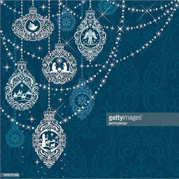 nativity christmas ornaments - religion stock illustrations