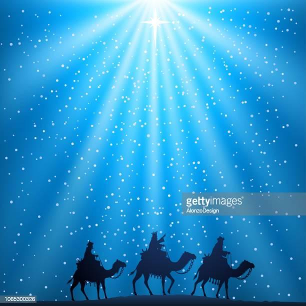ilustraciones, imágenes clip art, dibujos animados e iconos de stock de belén de navidad - los tres reyes magos