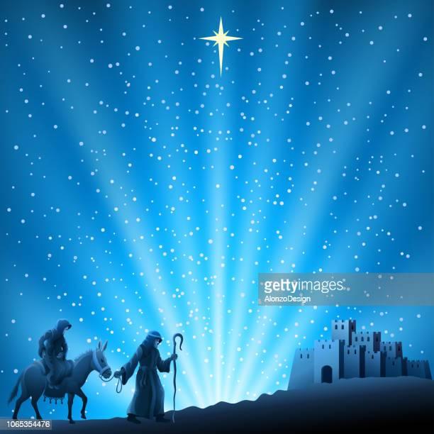 nativity christmas scene - nativity scene stock illustrations