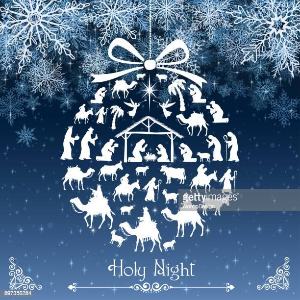 ilustraciones, imágenes clip art, dibujos animados e iconos de stock de nativity tarjeta de felicitación - nacimiento de navidad