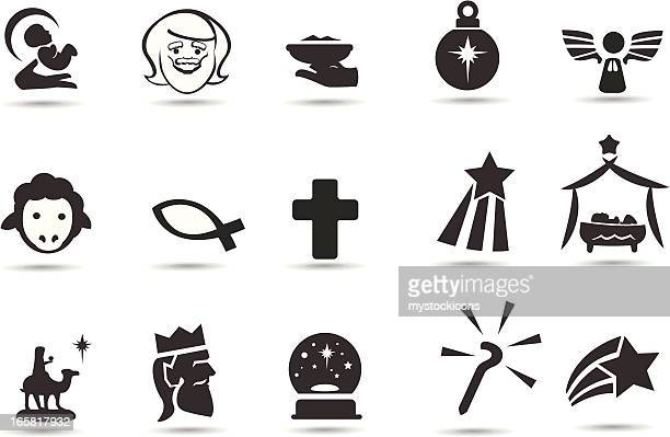 ilustraciones, imágenes clip art, dibujos animados e iconos de stock de nativity iconos - los tres reyes magos