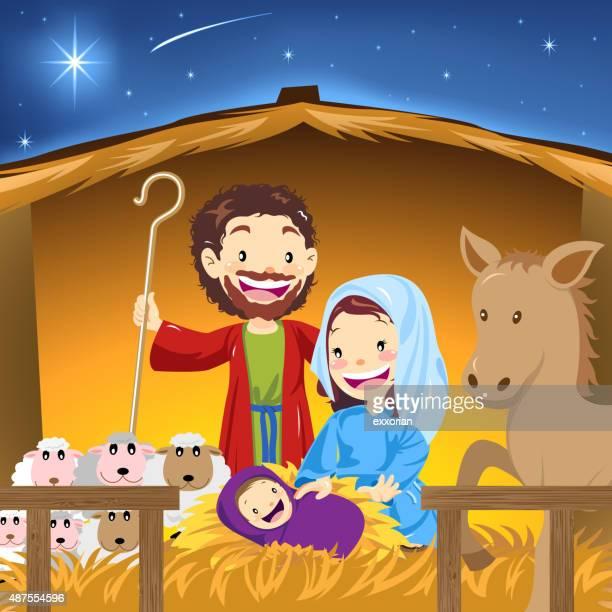 nativity manger - donkey stock illustrations, clip art, cartoons, & icons