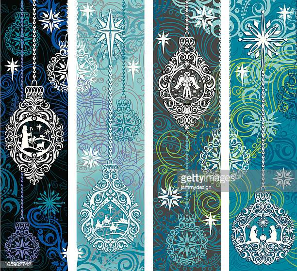 nativity ornament banners - nativity scene stock illustrations