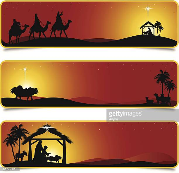 nativity scene banners designs - jesus stock illustrations, clip art, cartoons, & icons