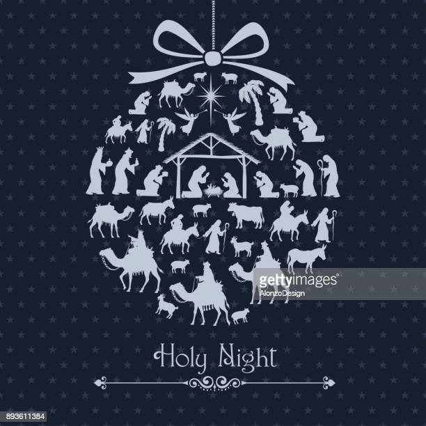 nativity scene. christmas bauble - nativity scene stock illustrations