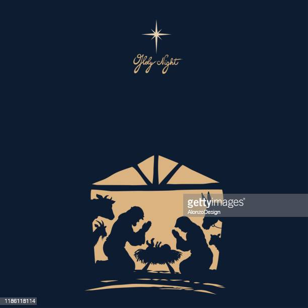 nativity scene. christmas night. - nativity scene stock illustrations
