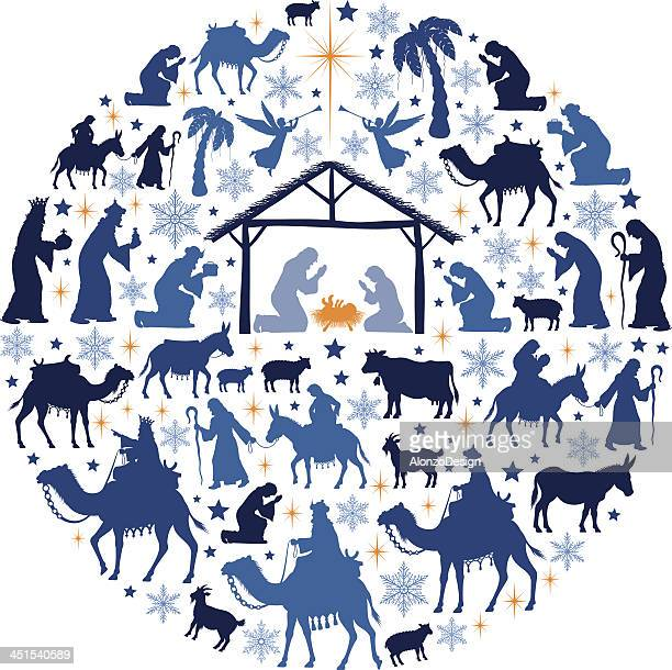 nativity scene collage - three wise men stock illustrations, clip art, cartoons, & icons