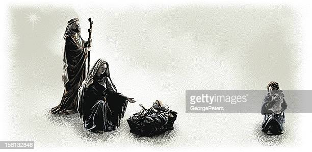 nativity scene engraving - jesus stock illustrations, clip art, cartoons, & icons