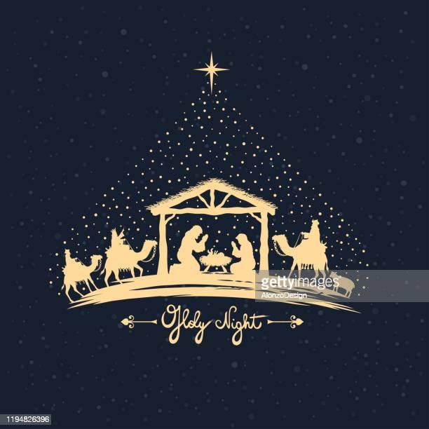 ilustraciones, imágenes clip art, dibujos animados e iconos de stock de belén. sagrada familia y tres sabios. - lostresreyesmagos