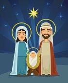 Nativity scene. Holy family. Birth of Christ
