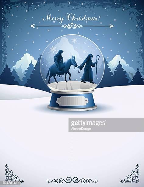 ilustraciones, imágenes clip art, dibujos animados e iconos de stock de natividad en un globo de nieve - nacimiento de navidad