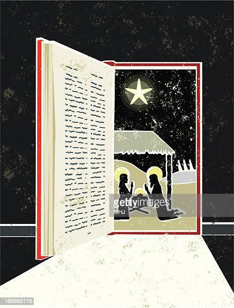 Nativity Scene in Bible Book Doorway