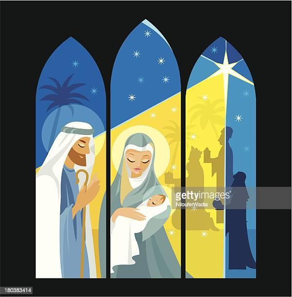 ilustraciones, imágenes clip art, dibujos animados e iconos de stock de natividad en la ventana de marcos - nacimiento de navidad