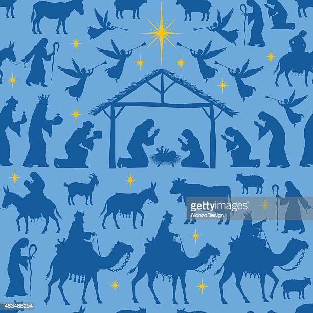 ilustraciones, imágenes clip art, dibujos animados e iconos de stock de natividad patrón - nacimiento de navidad