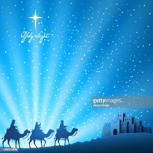 ilustraciones, imágenes clip art, dibujos animados e iconos de stock de escena de la natividad - los tres reyes magos