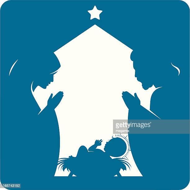 ilustraciones, imágenes clip art, dibujos animados e iconos de stock de natividad. - nacimiento de navidad