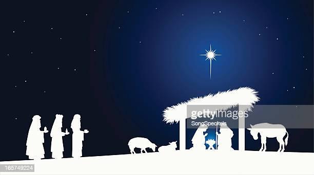 nativity scene - north star stock illustrations