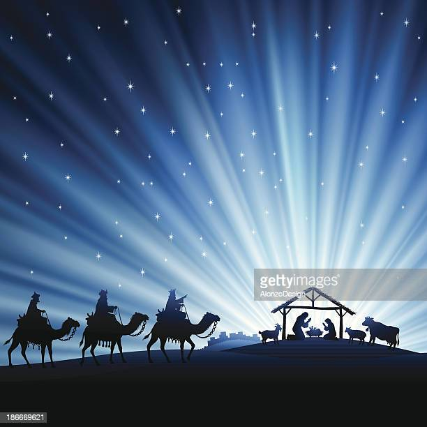 nativity scene - three people stock illustrations