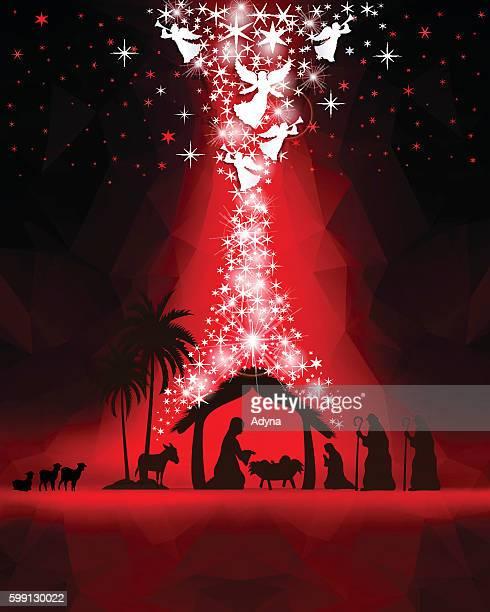 nativity scene - annunciation stock illustrations