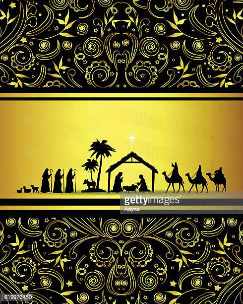 nativity scene - star of bethlehem religious symbol stock illustrations, clip art, cartoons, & icons