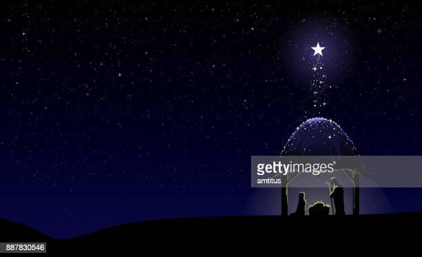 nativity scene - jesus stock illustrations, clip art, cartoons, & icons