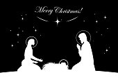 Nativity scene vector. White on black