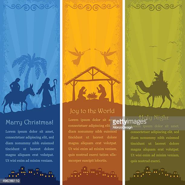 nativity scene - vertical banners - christianity stock illustrations
