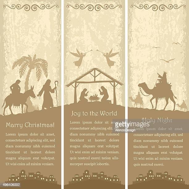 nativity scene - vertical banners - bran stock illustrations, clip art, cartoons, & icons