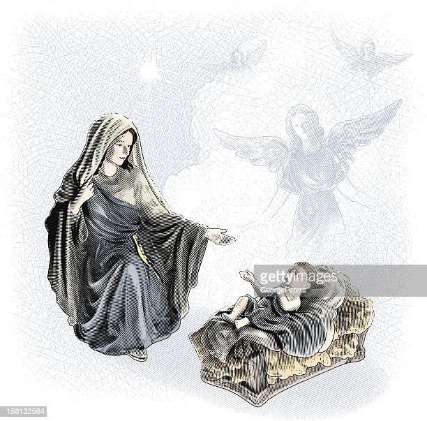 nativity scene with angels - virgin mary stock illustrations, clip art, cartoons, & icons