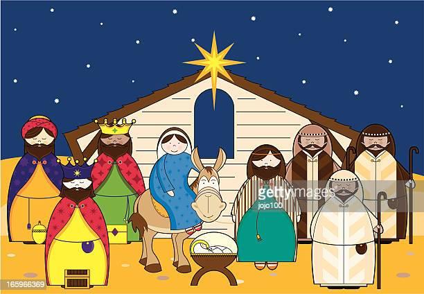 ilustraciones, imágenes clip art, dibujos animados e iconos de stock de pesebre con iconos de caracteres - nacimiento de navidad