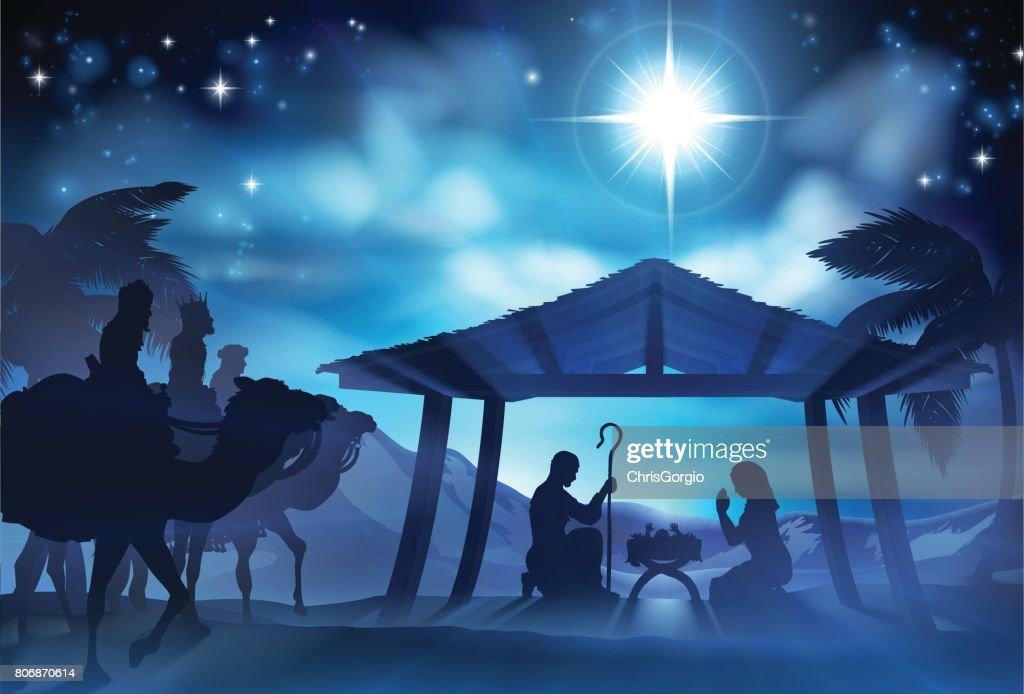 Nativity Scene With Three Wise Men