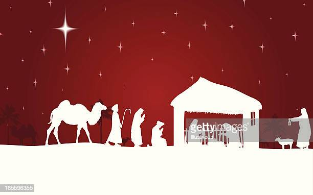 Nativity scene with white silhouettes on a red background