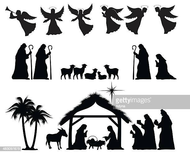 nativity silhouette - nativity scene stock illustrations