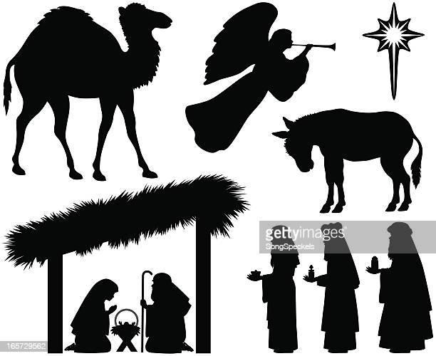 ilustraciones, imágenes clip art, dibujos animados e iconos de stock de nativity siluetas - lostresreyesmagos