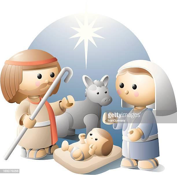 nativity - donkey stock illustrations, clip art, cartoons, & icons