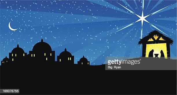 nativity - bethlehem west bank stock illustrations