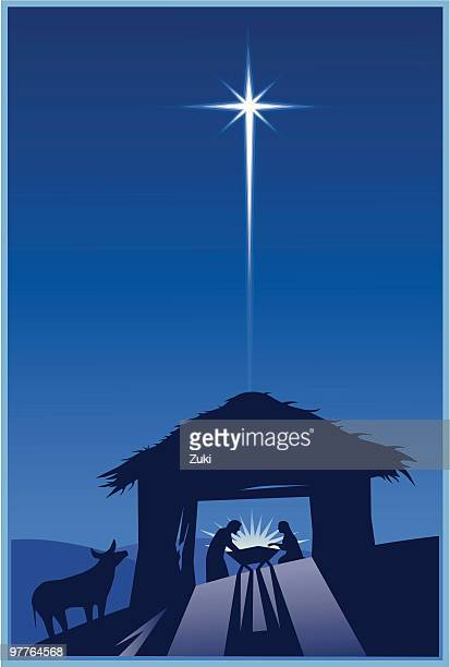 nativity - nativity scene stock illustrations