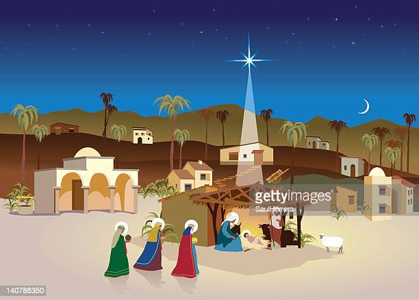 stockillustraties, clipart, cartoons en iconen met nativity village - christmas scene and magi - christendom