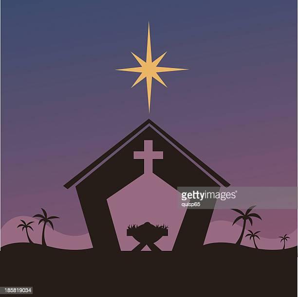 nativity with star - star of bethlehem religious symbol stock illustrations, clip art, cartoons, & icons
