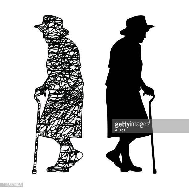 ナチュラルエイジング落書き - 年配の女性点のイラスト素材/クリップアート素材/マンガ素材/アイコン素材
