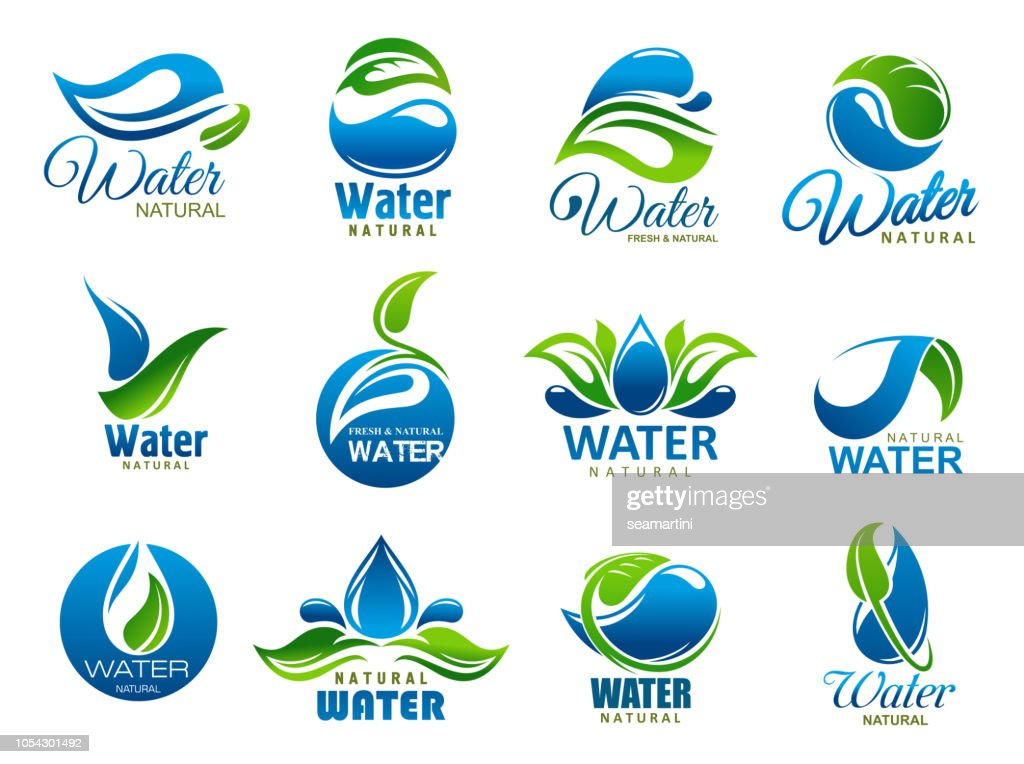 Natural and mineral water, vector icons