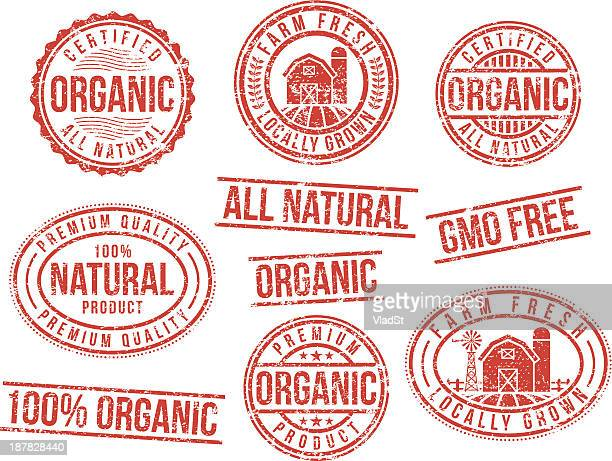 natural and organic - rubber stamps - organic stock illustrations, clip art, cartoons, & icons